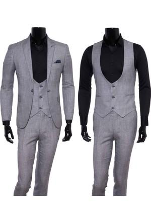 Giyimgiyim Gri Spor Yelekli Erkek Takım Elbise