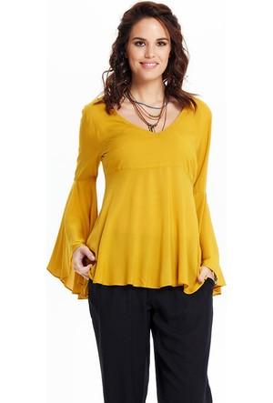 Los Banditos İspanyol Kol Bluz Sarı