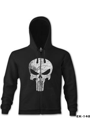 Lord T-shirt Punisher Siyah Erkek Kapşonlu Sweatshirt