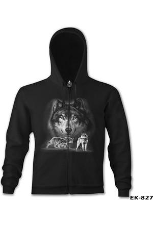 Lord T-shirt Kurt Siyah Erkek Kapşonlu Sweatshirt