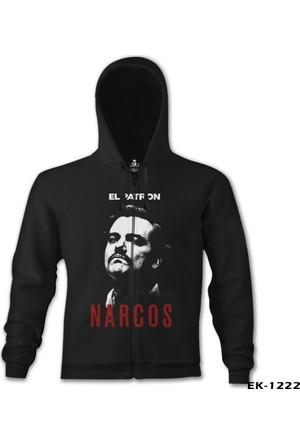 Lord T-shirt Narcos El Patron Siyah Erkek Kapşonlu Sweatshirt