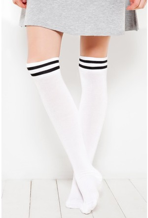 Brgoetti Beyaz Diz Üstu Diana Bambu Çorap