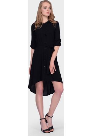 İroni Asimetrik Siyah Gömlek Elbise
