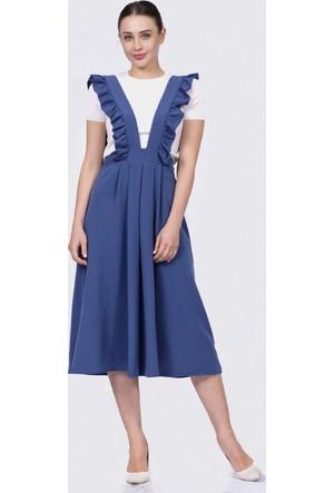 İroni İndigo Salopet Elbise