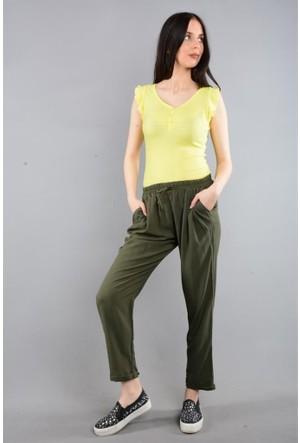 Rodin Hills Haki Kadın Pantolon Dar Paça Şile Şalvar 200001