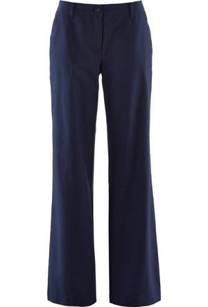 Bpc Bonprix Collection Kadın Mavi Cepli Bol Kesim Keten Pantolon