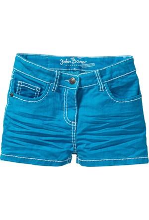 John Baner Jeanswear Kız Çocuk Mavi Kırışık Görünümde Şort
