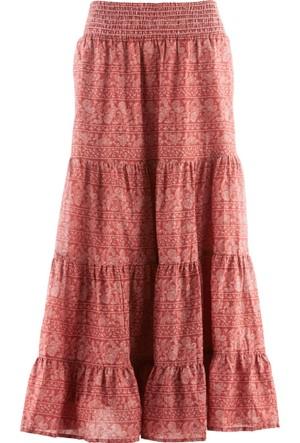 Bpc Bonprix Collection Kırmızı Desenli Uzun Etek