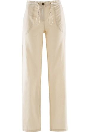 Bpc Bonprix Collection Kadın Gri Keten Pantolon