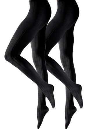 Bonprix Siyah Lascana Külotlu Çorap (2Li Pakette)
