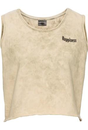Rainbow Kadın Kahverengi Eskitilmiş Görünümde T-Shirt