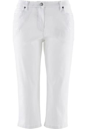 Bpc Bonprix Collection Kadın Beyaz Yaprak Motifli Kapri