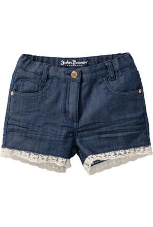 John Baner Jeanswear Kız Çocuk Mavi Dantel Detaylı Şort
