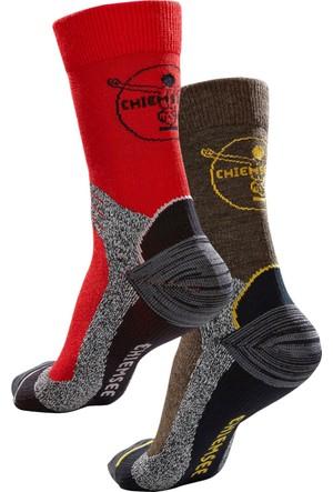 Chiemsee Erkek Kırmızı Yürüyüş Çorabı (2Li Pakette)