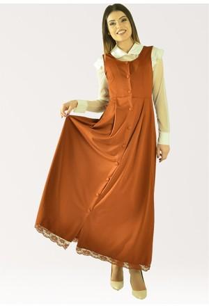 Modamla Altı Dantelli Düğmeli Japone Elbise