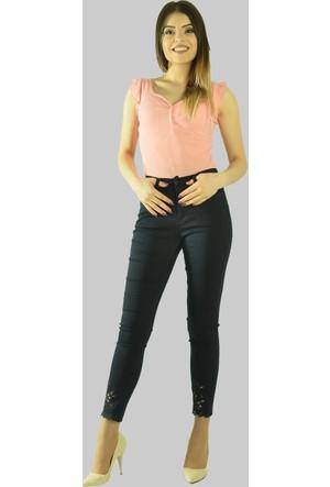Modamla Paçası Lazerli Yüksek Bel Pantalon