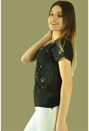 Modamla Önü Boncuklu Yıldız T-Shirt