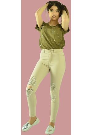 Modamla Dizi Yırtık Taşlı Yüksek Bel Pantalon