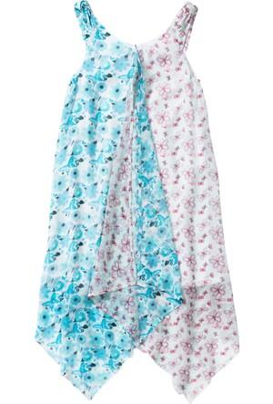 Bpc Bonprix Collection Beyaz Çiçek Baskılı Asimetrik Kesim Elbise