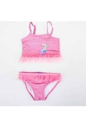 Soobe Lisanslı Disney Frozen Askılı Fırfırlı Bikini Pembe