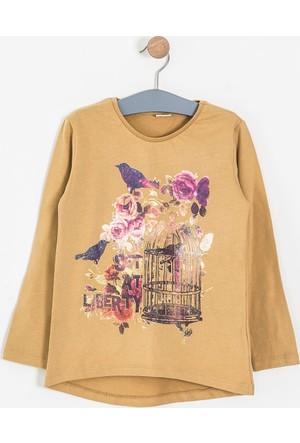 Soobe Pop Girls Kafesli Kuş Uzun Kol T-Shirt Camel