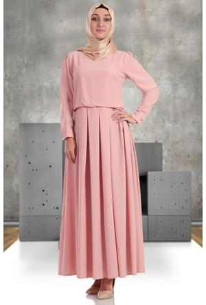 Hulle Kolye Aksesuarlı Elbise 067 Pudra