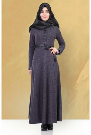 Beria Mevsimlik Kazayağı Desenli Elbise 5010 Mor