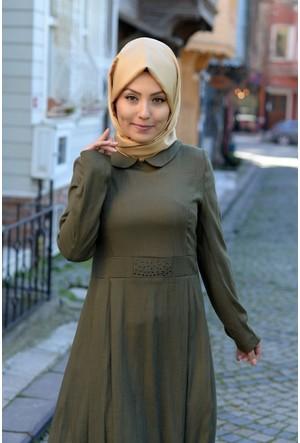 Semira Bebe Yakalı Tunik Elbise 6602 Haki