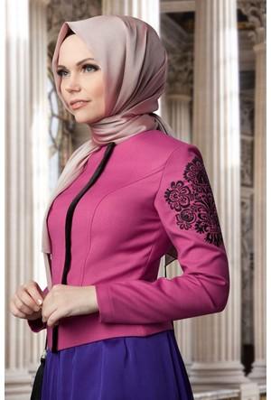 Muslima Wear Kol Nakışlı Ceket 34101 Fuşya
