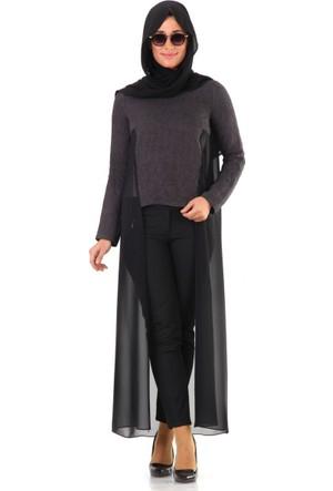 Al-Marwah Mevsimlik Tül Detaylı Tunik 60359 Siyah