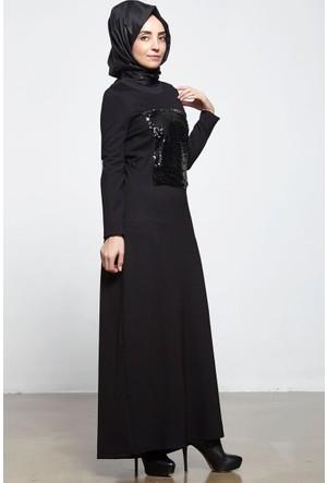 Aşiyan Mevsimlik Pul Payetli Elbise 16Kas6126 Siyah