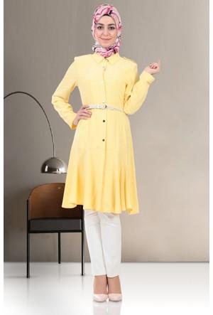 Nihan Kloş Etekli Tunik S3187 Sarı