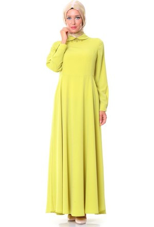 Nihan Yaka Aksesuarlı Elbise S3283 Sarı