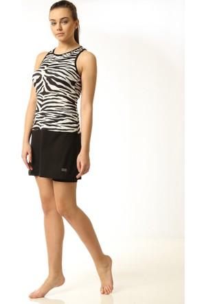 Zebra Desenli Etekli Mayo - Siyah Beyaz - Mayovera