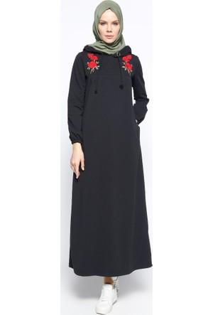 Nakışlı Elbise - Siyah - Bwest