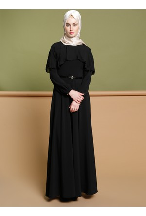 Piliseli Elbise - Siyah - Puane