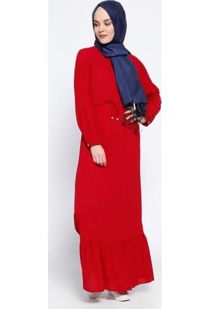 Beli Bağcıklı Elbise - Kırmızı - Beha Tesettür