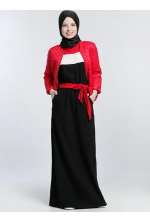 Natürel Kumaşlı Beli Lastikli Jile Kolsuz Elbise - Siyah Kırmızı - Benin
