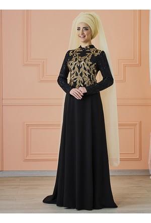 Anka Abiye Elbise - Siyah Gold - Mevra