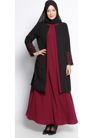 Kolu Dantelli Abiye Elbise - Vişne Siyah - Sevilay Giyim