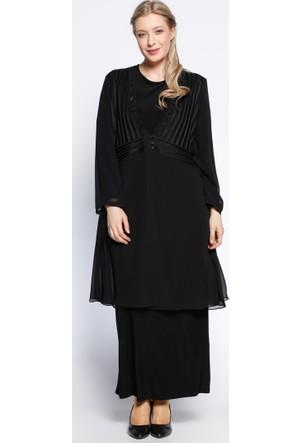 Şifon Hırka & Elbise 2'li Takım - Siyah - He&De