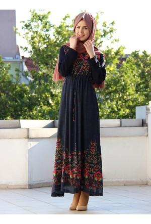 Rotasyon Baskılı Penak Elbise - Lacivert - İz Otantik