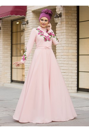 Benefşe Elbise - Pudra - Gizem Kış