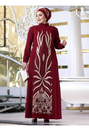 Sultan Abiye Elbise - Bordo - Nesrin Emniyetli
