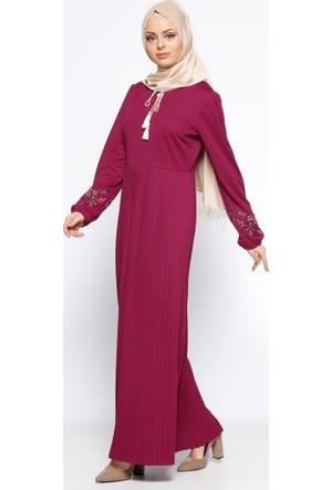 Piliseli Elbise - Vişne - Bwest