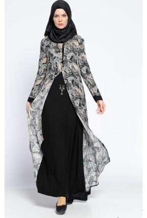 Drop Baskılı Desenli Elbise - Siyah - Ginezza