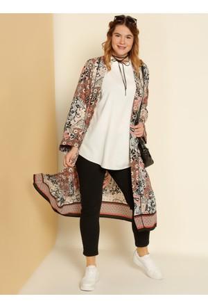 Şal Desenli Kimono - Turuncu Siyah - Alia