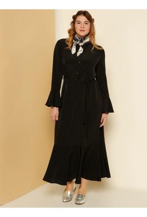 Kolları ve Etek Ucu Volanlı Elbise - Siyah - Alia