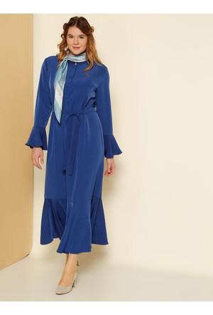Kolları ve Etek Ucu Volanlı Elbise - Saks - Alia