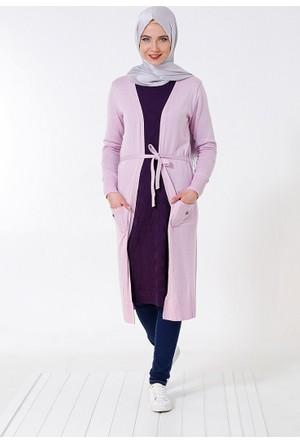 Uzun Triko Hırka - Lila - Seyhan Fashion